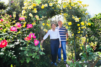 Colin and Jean Mackenzie in their Glen Waverley garden.