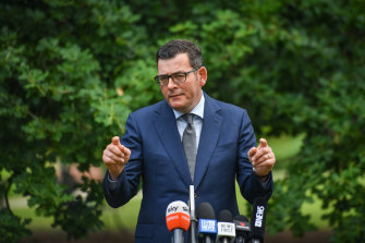 Premier Daniel Andrews makes a point this week as IBAC trawls through his interactions with a lobbyist for John Woodman.