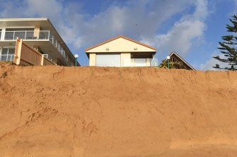 Coastal erosion at Collaroy-Narrabeen after this week's storm left vertical drops known as scarps.