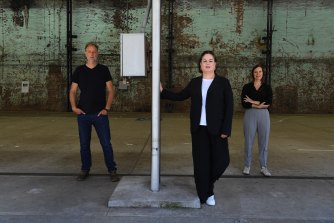 Curators Matt Cox from Art Gallery of NSW (left), Abigail Moncrieff from Carriageworks (centre) and Rachel Kent from MCA (right) at the Carriageworks in Sydney.