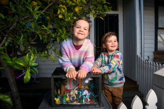 Elvie McNicholas, 5, and Marlon McNicholas, 3, with their tiny gallery.