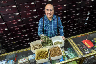 Dr Lin Tzi Chiang at his traditional Chinese medicine store in Footscray.