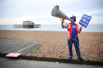 Anti-Brexit protester Steve Bray on a beach at Brighton, where the Labour conference is debating the party's stance on Brexit.