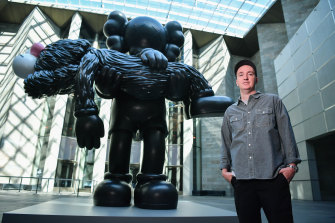 The newly commissioned seven-metre-tall sculpture Gone by Brian Donnelly, better known as KAWS, at the National Gallery of Victoria.