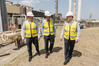 Beach Energy CEO Matt Kay, Qenos CEO Stephen Bell and Santos CEO Kevin Gallagher announce a gas supply deal for the Qenos plant in Botany that has been under threat of closure.