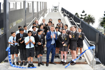 Transport Minister Andrew Constance opens the footbridge at Moore Park a week ago.