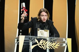 Caleb Landry Jones with his best actor award for Nitram.