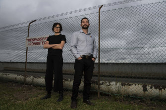 Environmental campaigner Felicity Wade and AMWU leader Steve Murphy outside the site of the demolished Clyde Petrochemical Plant in Rosehill.