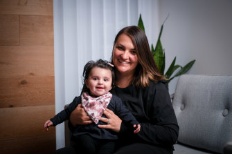 Joanna Masri with five-month-old daughter Amilia.