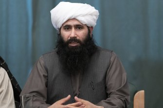 Mohammad Naeem, spokesman for the Taliban's political office, during a news conference in Moscow, Russia. The Taliban have insisted that Afghanistan's elected President resign.