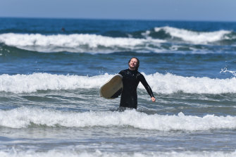 Geordi Coyne in the surf at Torquay