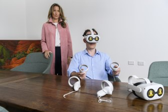 Global Access Partners managing director Catherine Fritz-Kalish with Benjamin Blackshaw, who is testing out AtOne's virtual reality meditation.