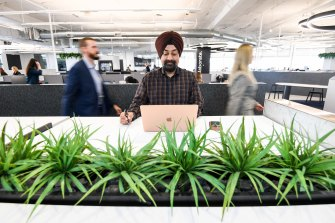 Worker Harman Singh at a suburban Waterman's co-working space.