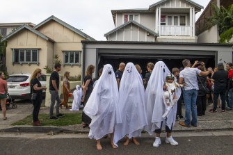 Trick or treaters line up in Bondi in 2018.