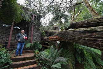 John Carlyle inspects the damage in Kalorama.