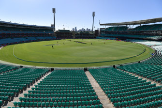 Empty stands at the SCG on Friday.