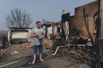 Maree Fletcher at her burnt-out home in Lake Conjola.