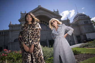 Carla Zampatti with model Jaylee Hughes, wearing Carla Zampatti designs. March 6, 2019.