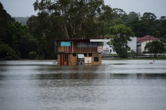 Lismore CBD under water after flash flooding from heavy rainfall.