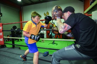 Levi, 11, trains with Jason Whateley at Pure Boxing.