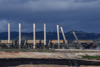 The eight chimneys on the former Hazelwood Power Station are demolished with explosives