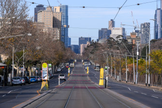 Lygon Street in Melbourne's Brunswick was deserted on Monday morning.