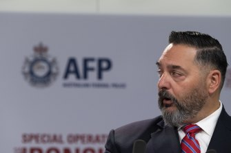 FBI's representative Anthony Russo addresses the media on the raids and arrests on organised crime using compromised encypted communication apps.