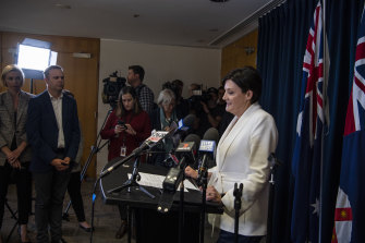 Jodi McKay announces her resignation at Parliament House in Sydney on May 28.