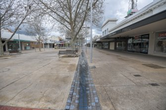 Deserted streets in Shepparton's city centre this week.