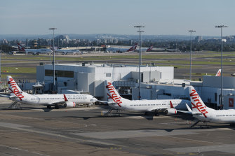 Grounded Virgin planes at Sydney Airport last week.