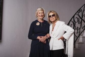 Jillian Broadbent with her friend Carla Zampatti at the designer's home in 2018.