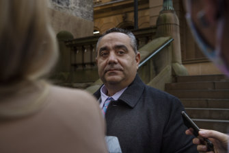 Lawyer Tony Nikolic leaving Central Local Court on Tuesday.