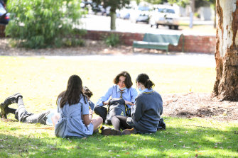 Students from Albert Park College at Gasworks Park on Tuesday.