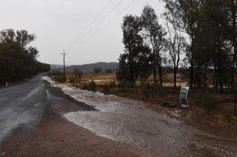 Flash flooding occurring just after severe storms swept through the Forbes region in western NSW on Friday.