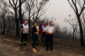 NSW Premier Gladys Berejiklian and RFS Deputy Commissioner Rob Rogers visit Mount Victoria on Monday.