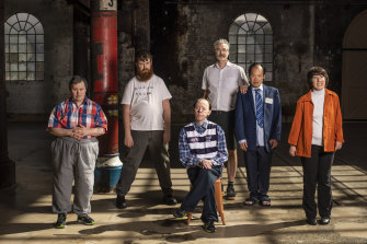"Mark Deans, Scott Price, Simon Laherty, Bruce Gladwin (artistic director),  Michael Chan and Sarah Mainwaring, the cast of Back to Back Theatre in ""The Shadow Whose Prey the Hunter Becomes"" at Carriageworks last year."