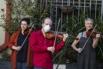 Members of the Opera Australia orchestra protest in March outside OA headquarters after they were stood down without pay.