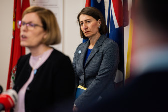 NSW Chief Health Officer Kerry Chant (left) and NSW Premier Gladys Berejiklian give an update on coronavirus in the state on Monday.