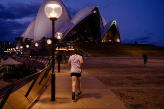 The Sydney Opera House is shuttered in lockdown.