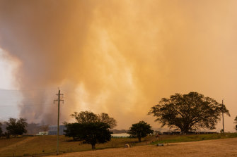 Fires burn near Milton on the NSW south coast on Tuesday.