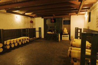 The tunnels in the North Fort contain a series of chambers including replicas of the shells the guns would have fired during World War II - had the need arisen.