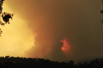 The Three Mile fire near Mangrove Mountain on Wednesday.