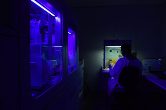Am instrument, known as COBAS, processing coronavirus samples lights up a virology laboratory as a technical officer carries out general testing.