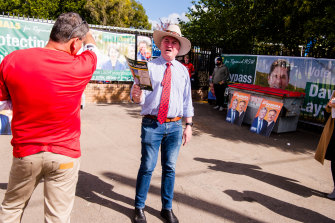 Federal Nationals MP Barnaby Joyce, campaigning on behalf of Nationals candidate David Layzell.