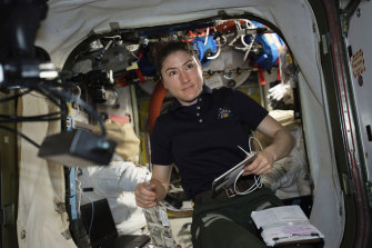 Astronaut Christina Koch inside the International Space Station.