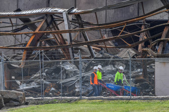 The burned out factory in Campbellfield on Wednesday.