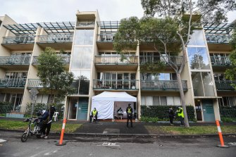 A pop-up COVID testing site in front of a locked down apartment block in Southbank where coronavirus cases have been detected.