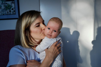 New mum Alex Hopkins and her first baby, Elizabeth Ada.