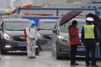 A worker in protective clothes disinfects a vehicle from the World Health Organisation convoy at the Baishazhou wholesale market in Wuhan.