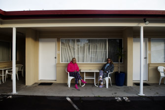 Lisa De Man and Tammy Becroft both from Queensland are staying at the Las Vegas Motel in Tweed Heads waiting for the traffic to be less congested.